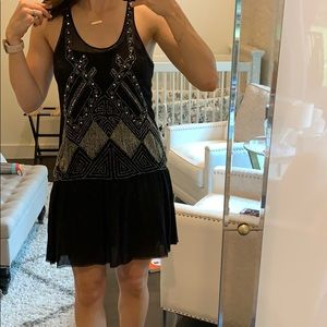 Black and silver beaded mini Joie dress